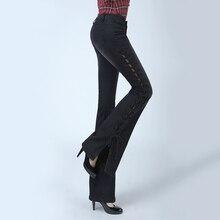 Skinny Jeans Woman 2016 New Vintage Denim Flare Wide Leg Long Pants Slim Womens Femme Plus Size Trouser C468