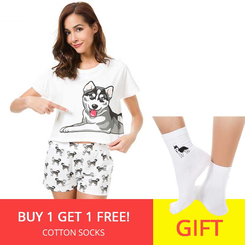 Husky Print Women   Pajama     Sets   2 Pieces   Set   Crop Top + Shorts Loose Elastic Waist Shorts Dog Print Lounge pijama S73104