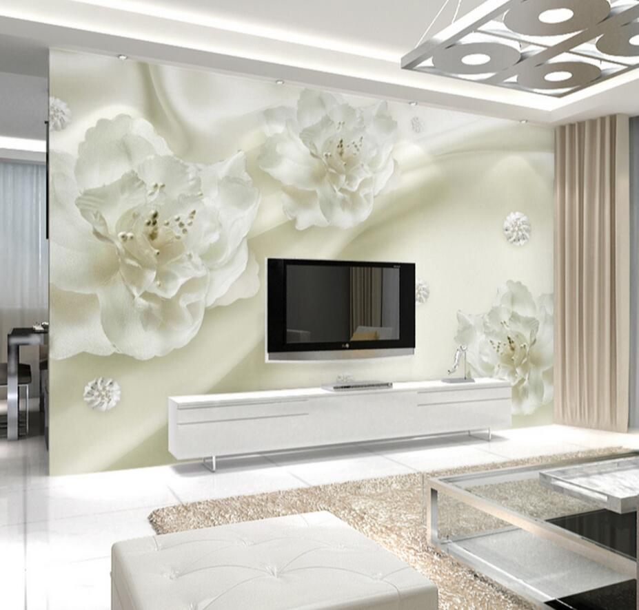 online get cheap white wall mural aliexpress com alibaba group 3d wallpaper photo wall mural white flower wall paper rolls home decorative larger size landscape wallcovering
