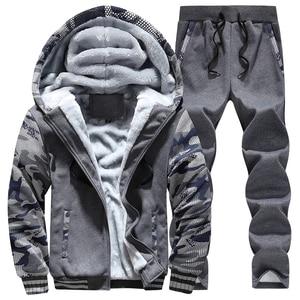 Image 3 - Inverno Tuta Da Uomo di Spessore In Pile Con Cerniera Tute Mens casual Felpe + Pantaloni Vestito di Pista Maschile 2 Pezzi di Abbigliamento Sportivo Abbigliamento Uomo