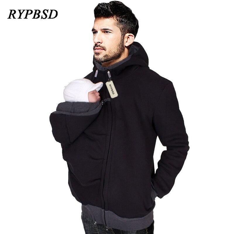 Dad Winter Kangaroo Cotton Baby Carrier Jackets With Zipper Dad Coat Hoodies Wearing Carry Infant Sweatshirt Winter Warm Clothes