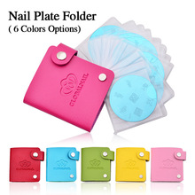 6 colors 24 Slots Leather Nail Art Stamping Plate Case/Bag/Folder Nail Stamp Template Holder Album Storage For Dia 5.6cm Stencil