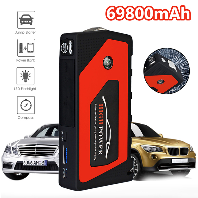 Car Jump Starter Emergency 69800mAh 12V Starting Device 4USB SOS Light Mobile Power Bank Car Charger For Car Battery Booster LED