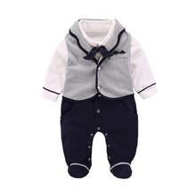 Katoenen Baby Jongen Romper Pasgeboren Baby Kleding Herfst Winter Overalls voor Kinderen Nieuwe Jaar 3 6 9 Maanden Baby rompertjes Vesten 2 stks