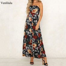 hot deal buy 2019 summer boho jumpsuits women sexy strapless print jumpsuit female bow backless floral jumpsuits night party straight pants
