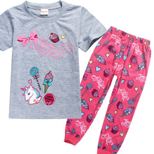 Childrens pajamas home clothes girls 2019 new summer one-horn cotton European and American casual set