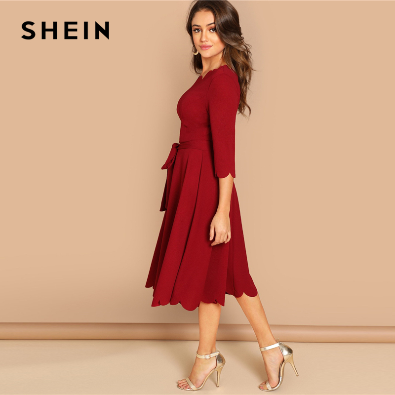 cc58e24b7c SHEIN Burgundy Elegant Party Solid Belted Scallop Edge Round Neck 3/4  Sleeve Fit And Flare Dress Autumn Women Knee Length Dress-in Dresses from  Women's ...