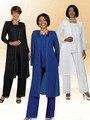 Três peças terno Mãe da Noiva O-pescoço Chiffon camisa de manga longa e calças cape mãe vestido para festa de casamento
