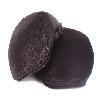 f30adb2d078d7 2018 Fashion Autumn Winter Men Cap Hats Berets PU Leather Advanced ...