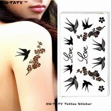 Nu-TATY Love Birds Swallow Temporary Tattoo Body Art Arm Flash Tattoo Stickers 17x10cm Waterproof Fake Henna Painless Tattoo