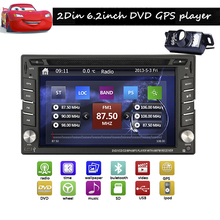 6.2inch In Dash Car headunit  DVD Player Auto GPS 2DIN Car Stereo DVD Player Buletooth iPod-Aux Radio+Free rear Camera+GPS Map
