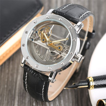 Luxury Hollow Automatic Mechanical Men  Black Leather Wrist Watche