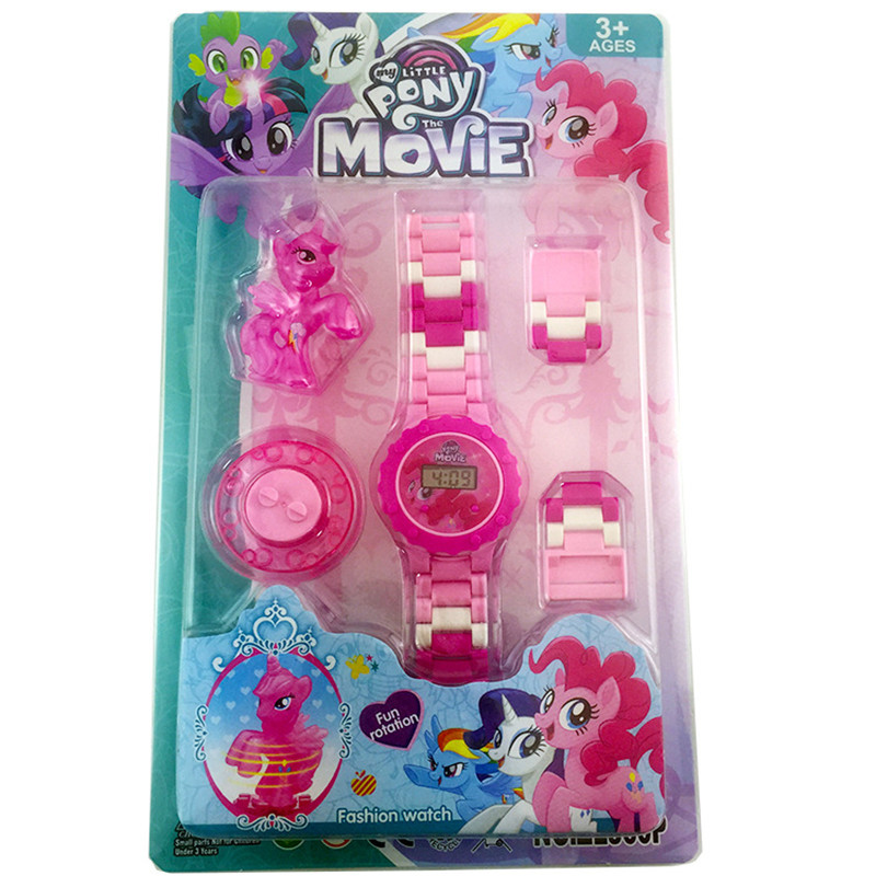 Cartoon Movie Buildable Watch Figure Rotate Spin Building Block Toy For Boy Kid Children Xmas Compatible With Legoings Wristband