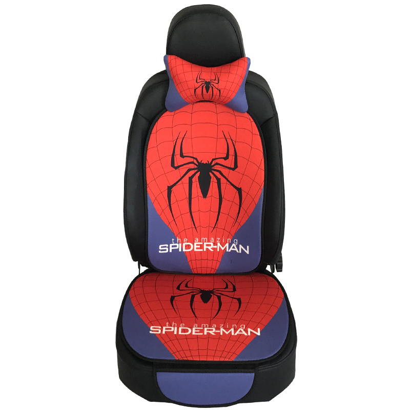 Two packs Pillow Seat Backrest Anime Spider Man Auto Plush Car Front Seat Accessories