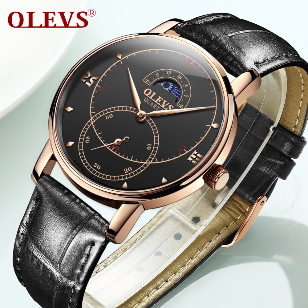Reloj Hombre OLEVS Business Mens Watches Rose Gold Shell Waterproof Watch men Military Black Leather Clock For Male Moon phase|Quartz Watches| |  - title=