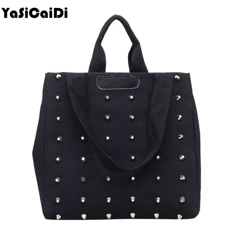 YASICAIDI Women's Canvas Handbag Rivet Canvas Shoulder Bags Large Capacity Messenger Bags Female Tote Bags shopping women bags цена