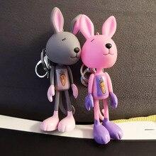 High Quality 2019 New  Rabbit Fur Keychain Bunny Rabbit Fur Fashion Pom Pom Keychain Bunny Toy Rabbit Key Ring Gift
