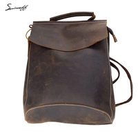 SMIRNOFF Elegant Handmade Crazy Horse Leather Women Backpack Personality Multi Pocket Large Capacity Ladies Rucksack