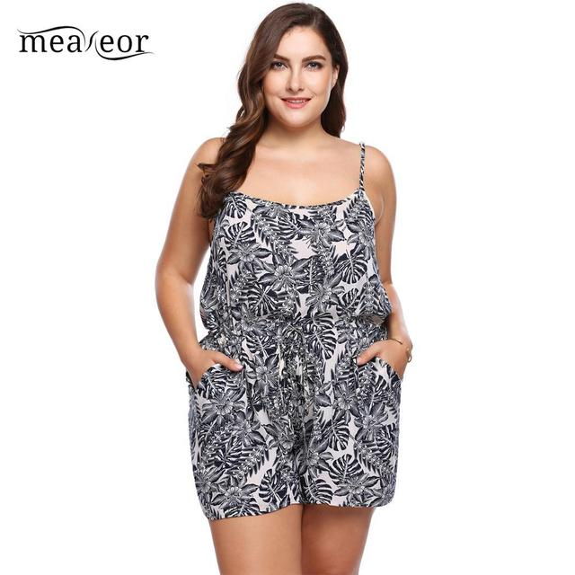 242a73b89119 Meaneor Floral Summer Romper Plus Size Fashion Spaghetti Strap Women  Jumpsuits Rompers Sleeveless Floral Summer Women Jumpsuits