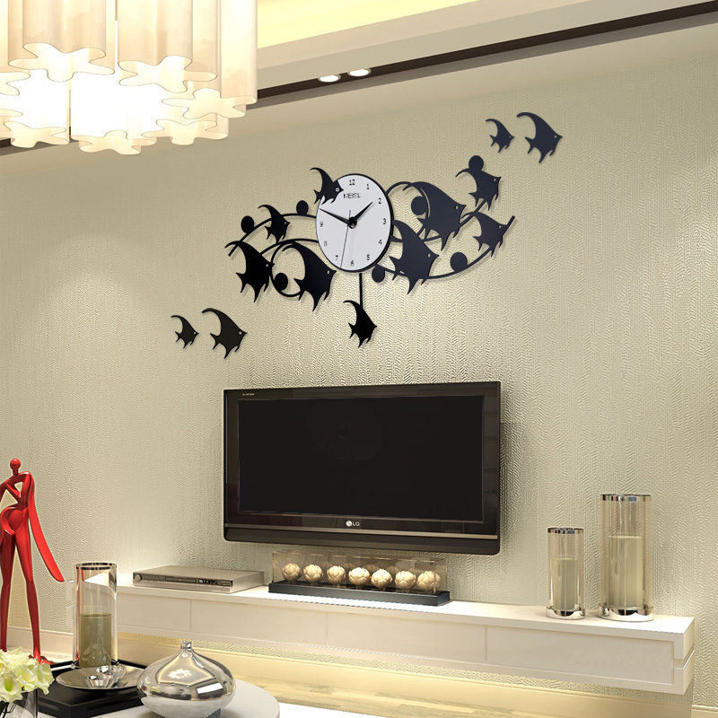Tropical Fish Big Large Wall Clock Modern Design 3D Digital Swing Clocks Wall Watches Home Decor With Free Wall Stickers klokken