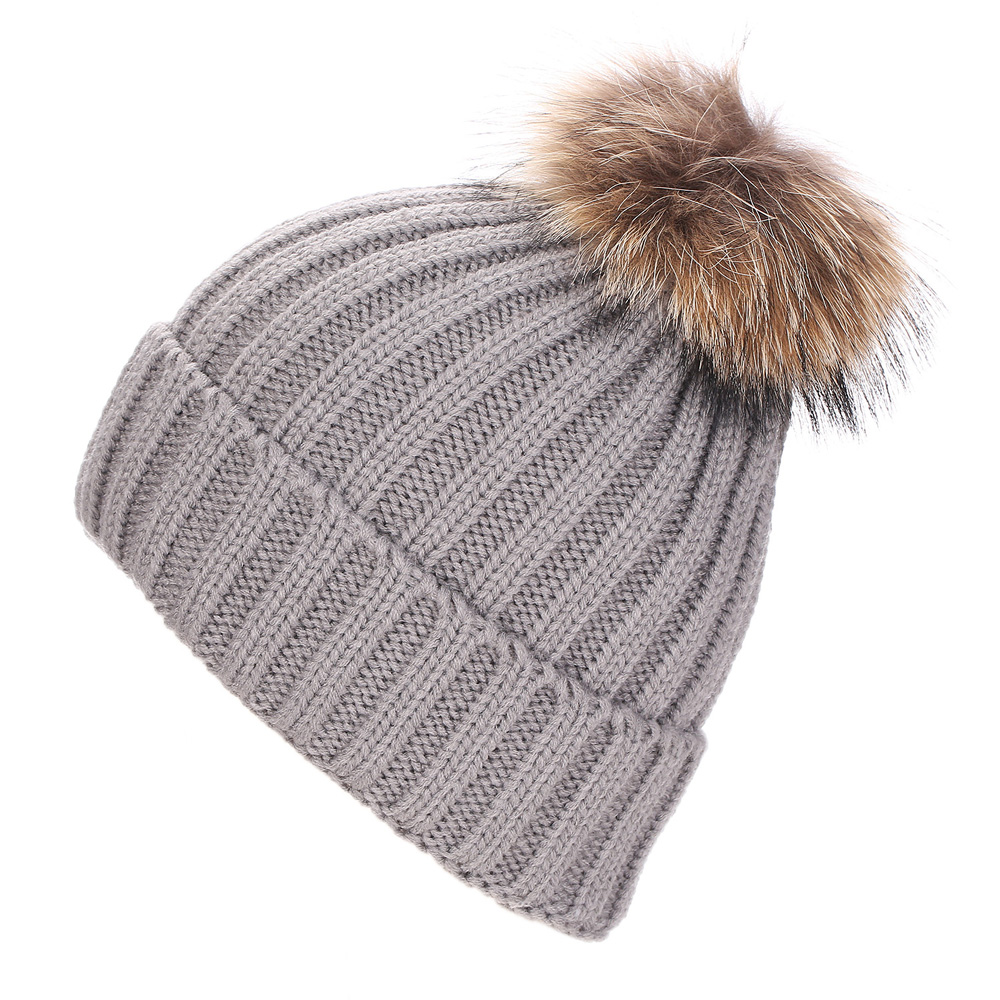 Autumn Winter Beanies Hats for Women Unisex Knitted Wool Skullies Casual Cap with Fur Pompom Solid Snow Ski Gorros Caps LZ097 2017 new lace beanies hats for women skullies baggy cap autumn winter russia designer skullies