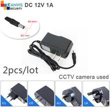 2pcs# DC12V 1A power adapter for CCTV camera/LED lamp/router/Lighting Transformers etc EU/US/UK/AU plug adapter converter GANVIS