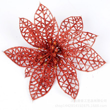 10Pcs Glitter Hollow Decoration Flowers for Christmas Trees Navidad New Year Decorations Wedding Party Decor