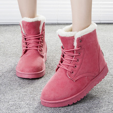 Women Boots 2016 Fashion Botas Femininas Warm Winter Snow Boots Female Lace Up Fur Ankle Boots 7 Color Flats Ladies Shoes