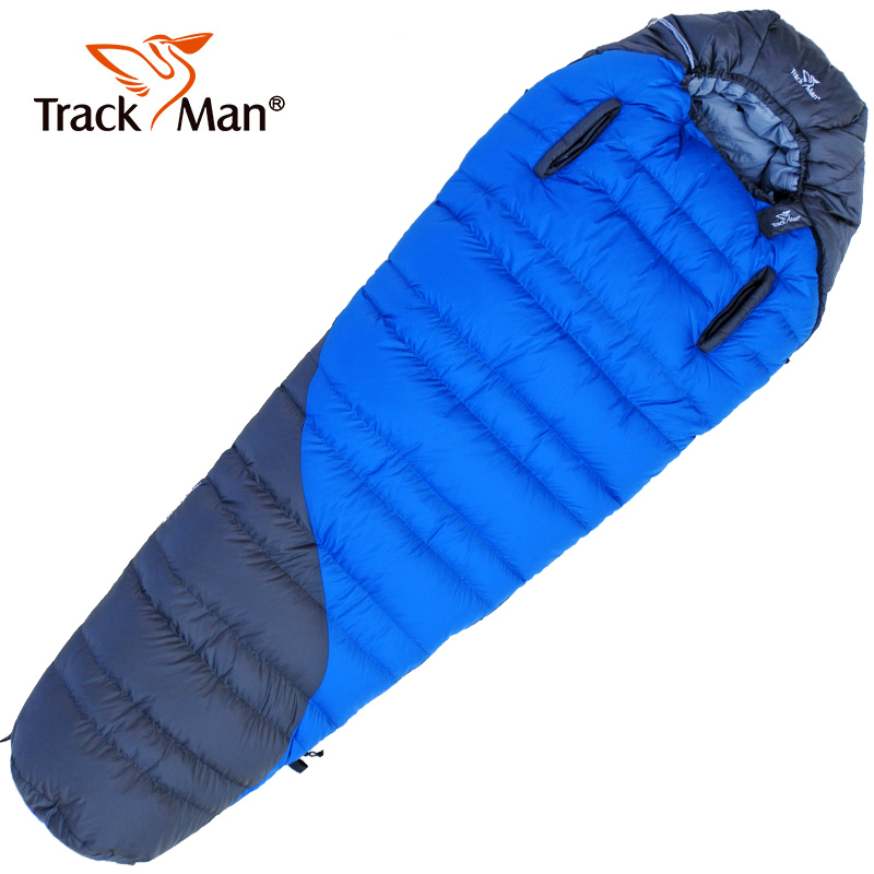 Trackman Lengthened Mummy Sleeping Bag Ultralight White Goose Down Box Baffles Winter Outdoor Camping Hiking 218cm