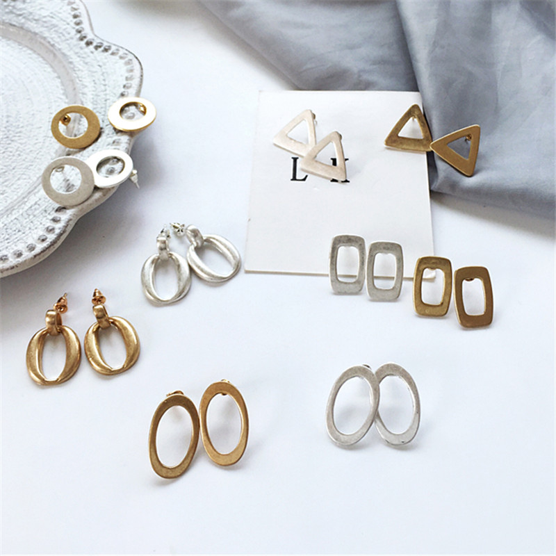 kshmir Geometric circular triangle earrings exaggerated personality Hipster retro metal geometry temperament Earrings female earrings