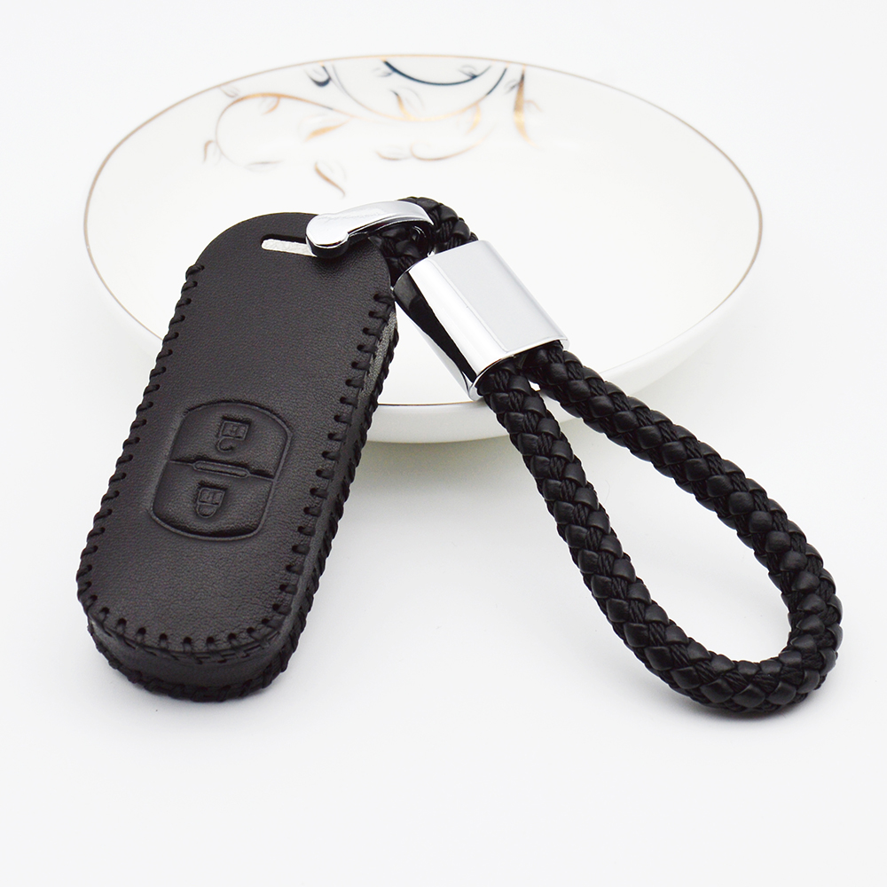 Car Keyring Smart Key Case Cover For Mazda Cx-5 3 6 Cx-3 Cx-7 Cx5 5 2 2017 RX8 CX7 Genuine Leather Key Chain Shell Accessories