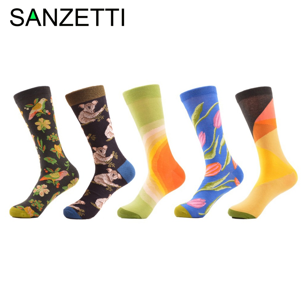 SANZETTI 5 pairs/lot Mens Colorful Combed Cotton Socks Funny Abstract Pattern Casual Crew Socks Dress Tube Sock for Gift