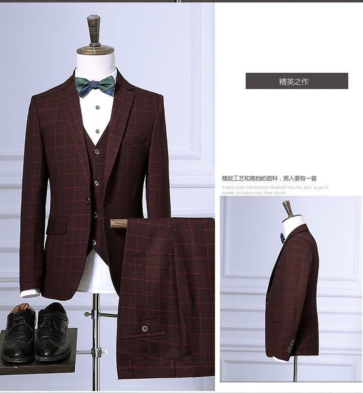 Jacket+Pants+Vest 2019 New Arrival Plaid Wedding Suits Men,Blazer Men,Wedding Dress,Stripe Men's Dress Suits,Size M-XXXL 3 Color