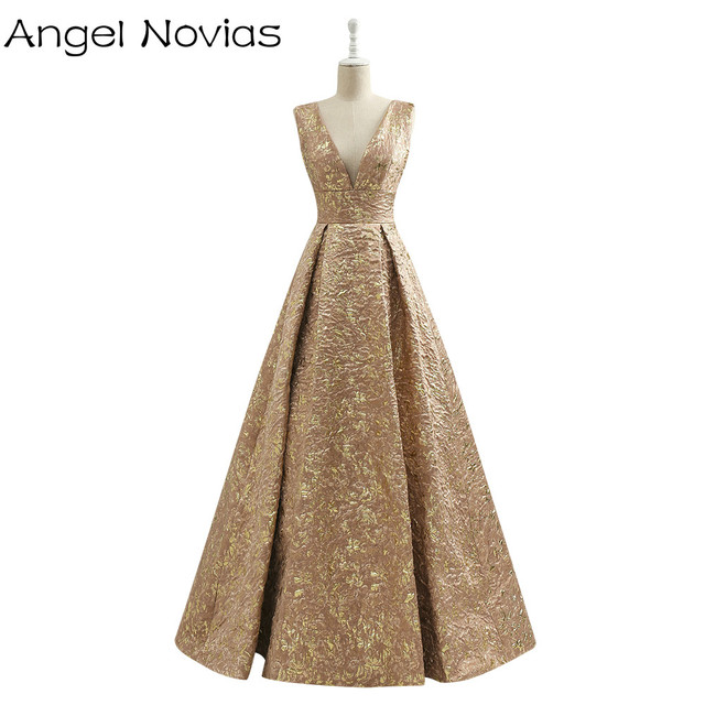 Long Vintage Gold Dubai Arabic Evening Dress 2017 Embroidery Formal Women  Party Evening Gowns Robe De Soiree b50b6f13c753