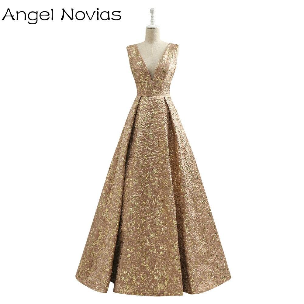 Long Vintage Gold Dubai Arabic   Evening     Dress   2017 Embroidery Formal Women Party   Evening   Gowns Robe De Soiree