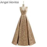 Long Vintage Gold Dubai Arabic Evening Dress 2017 Embroidery Formal Women Party Evening Gowns Robe De Soiree