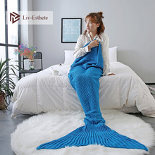 Liv-Esthete Blue Mermaid Tail Blanket Throw Blanket For Adult Kids Sofa Bed Sleeping Bag Wrap Knitted Blanket Best Gift winter sleeping bag bed throw wrap mermaid blanket