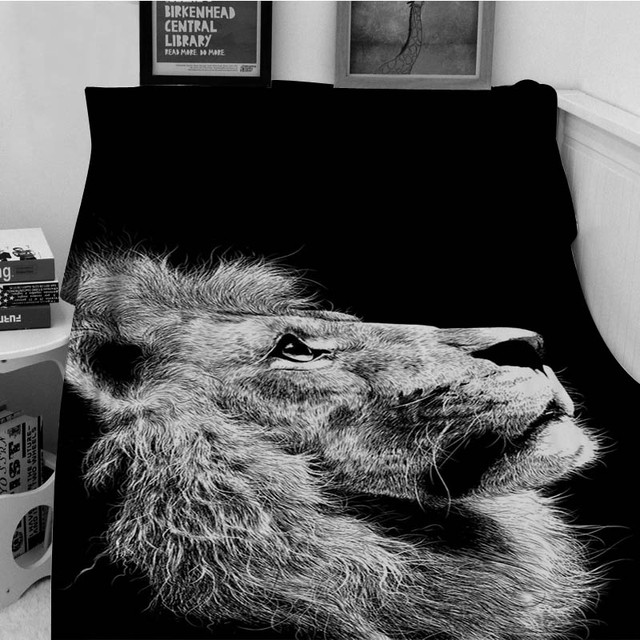 Blankets Warmth Soft Plush Art Photography Lonely Lion Black Impressive Lion Blanket Or Throw