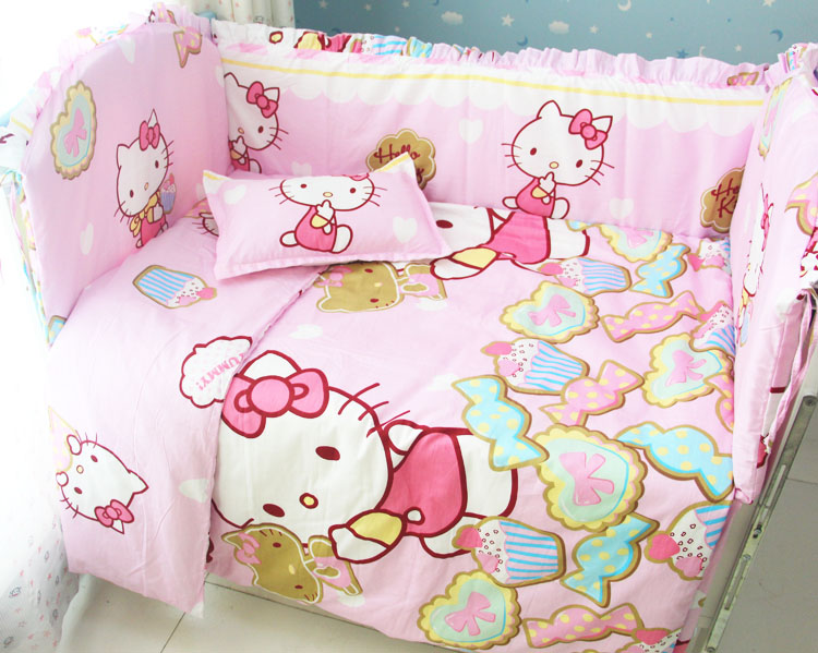 Promotion! 9PCS Whole Set Newborn Soft Infant Cotton Crib Bedding Set Girl Boy Newborn b ...