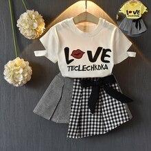 Girl Clothing Set Kids Clothes Suit Children Print O-neck T - Shirt Short Skirt Kids Fashion Toddler Girls Summer Set цена 2017