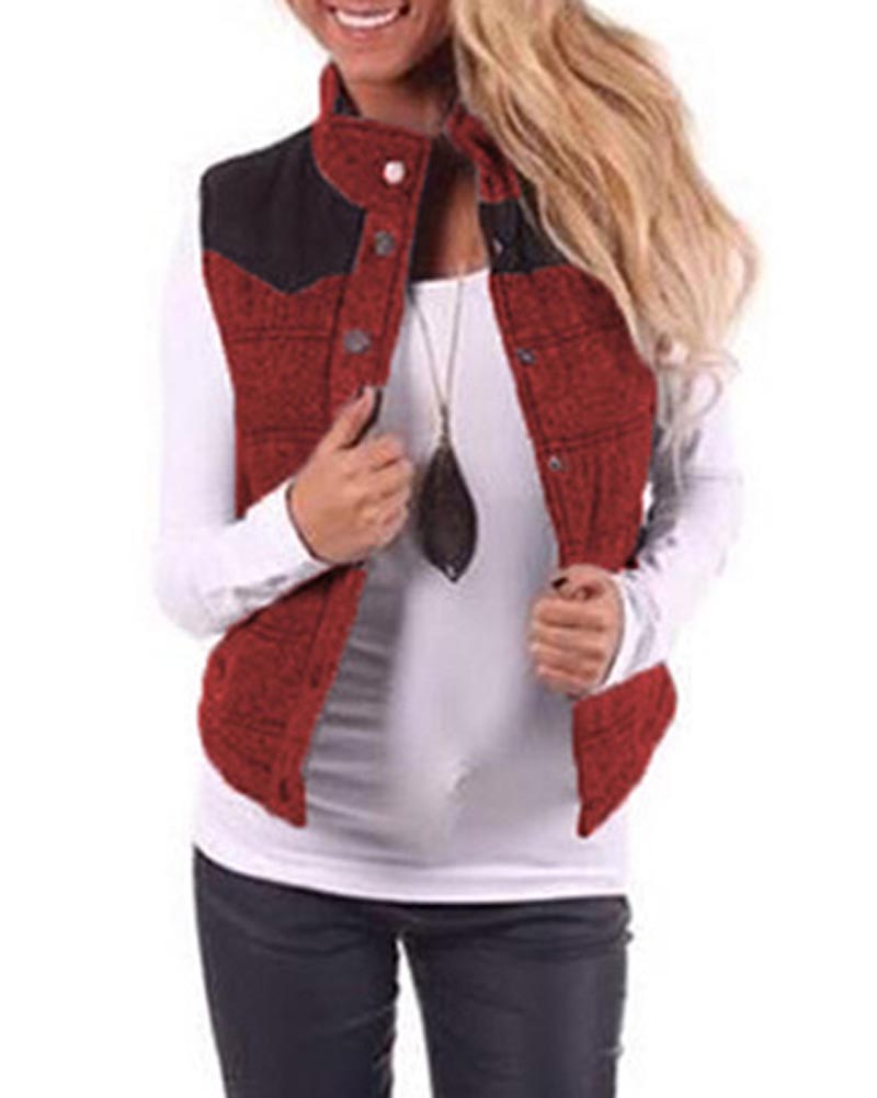 Hitmebox 2018 Newly Auturmn Winter Women's Slim Fit Patchwork Waistcoat Jacket Tops Quilted Padded Puffer Cotton Vest Outwears