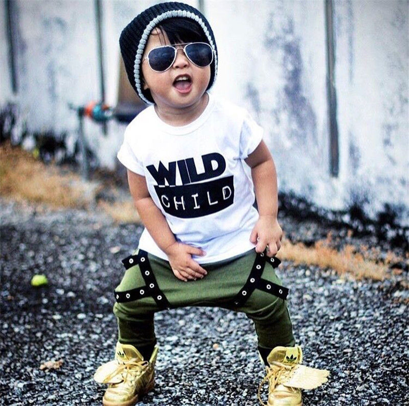 Toddler Kid Baby Boys Wild Child T-shirt Tops Long Pants Outfits Clothes
