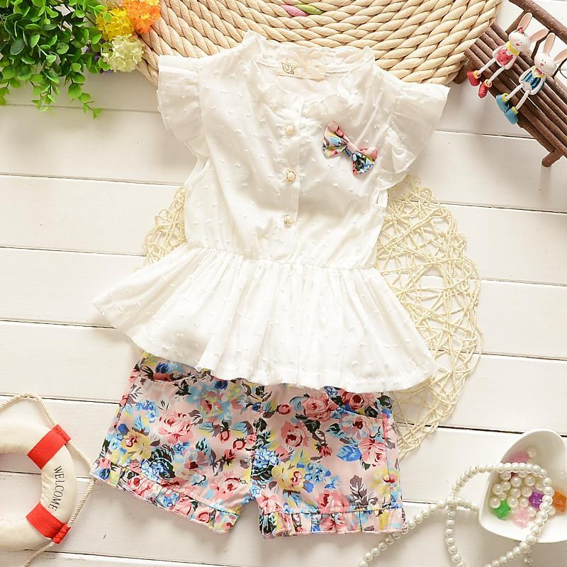 2 3 4 5 6 Years Girls Clothes Fashion Floral Summer Children Clothing Set 2017 New High Quality Kids Suit Costume for Girl pettigirl girls clothes set golden silk floral summer skirt with coat for girl kids costume cs90324 724f