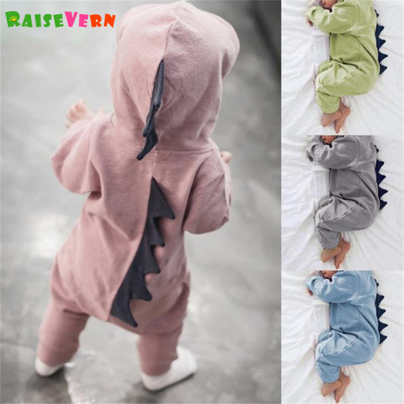 Kids Costume Autumn Newborn Baby Girl Boys Dinosaur Cosplay Pajamas Long Sleeve Romper Solid Jumpsuit Playsuit Outfits floral newborn baby girl kids sleeveless flower romper jumpsuit backless cotton sunsuit outfits