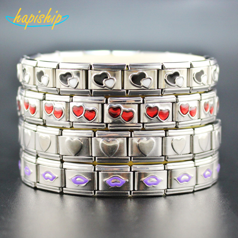 Hapiship 2018 New Product Women Man Fashion Style Jewelry 9mm Width Heart Lips Stainless Steel Elastic Bracelet Bangle G006