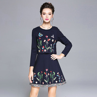 AOFULI Elegant European Style Women Female Dress Floral Embroidery Slim Long Sleeved Spring Dress Lady Big