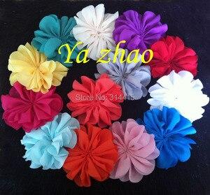 Image 2 - 3,2 дюймовые шифоновые цветы, DIY цветные цветы для головной повязки и аксессуары для волос, 60 шт./лот, бесплатная доставка