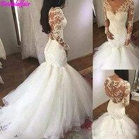 Женское роскошное свадебное платье с v образным вырезом, белое свадебное платье с длинными рукавами, украшенное бисером и кружевом, свадебн
