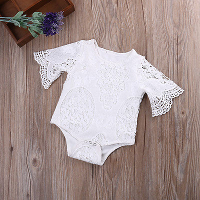 Newborn Baby Girl Kid Lace Floral White Cotton Short Sleeve Romper Jumpsuit Outfits Sunsuit Summer Clothes
