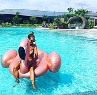 Inflatable Flamingo 150CM Giant Pool Float Rose Gold Flamingo Swimming Ring Adults Water Holiday Party Toys Piscina